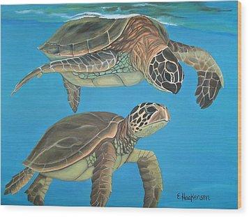 Companions Of The Sea Wood Print by Elaine Haakenson