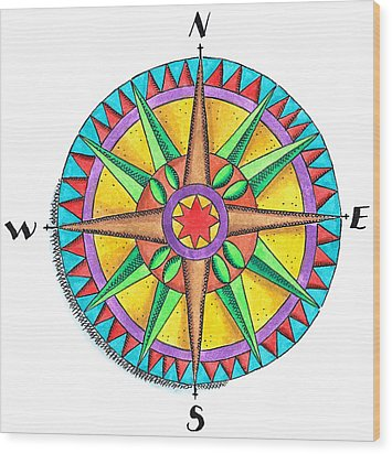 Compass Rose Wood Print by Jennifer Thermes
