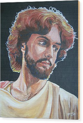 Wood Print featuring the painting Compassionate Christ by Bryan Bustard