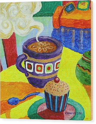 Complementary Coffee 1 Wood Print by Paul Hilario