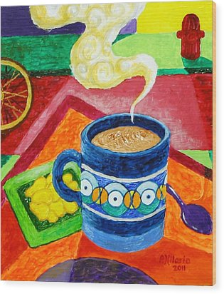 Complementary Coffee 2 Wood Print by Paul Hilario
