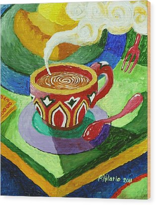 Complementary Coffee 3 Wood Print by Paul Hilario