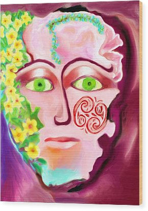 Wood Print featuring the painting Complete - A Mask by Shelley Bain
