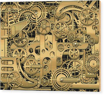 Complexity And Complications - Clockwork Gold Wood Print by Serge Averbukh
