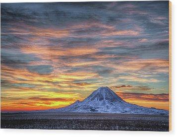 Complicated Sunrise Wood Print by Fiskr Larsen