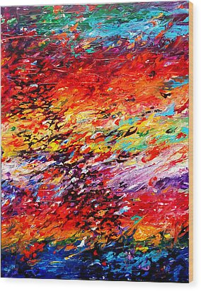 Composition # 6. Series Abstract Sunsets Wood Print