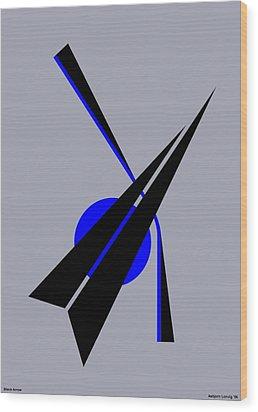 Composition Black Arrow Wood Print by Asbjorn Lonvig