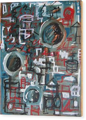 Composition No 9 Wood Print by Michael Henderson