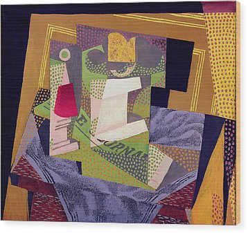 Composition On A Table Wood Print by Juan Gris