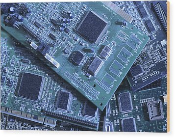 Computer Boards And Chips Lie In A Pile Wood Print by Taylor S. Kennedy