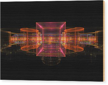 Computer Generated 3d Abstract Fractal Flame Modern Art Wood Print by Keith Webber Jr