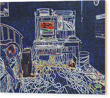 Computers And Wires Wood Print