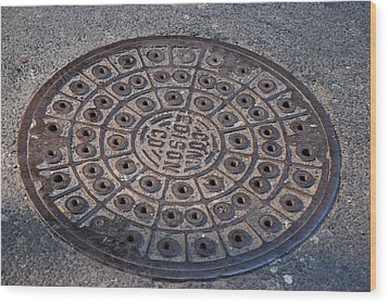 Con Ed Sewer Cap Wood Print by Rob Hans