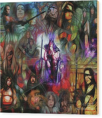 Conan The Barbarian Collage - Square Version Wood Print