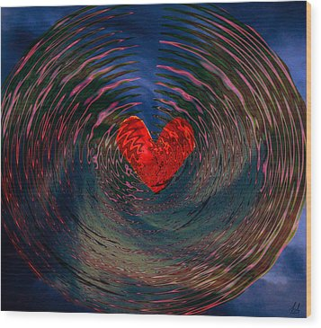 Wood Print featuring the digital art Concentric Love by Linda Sannuti