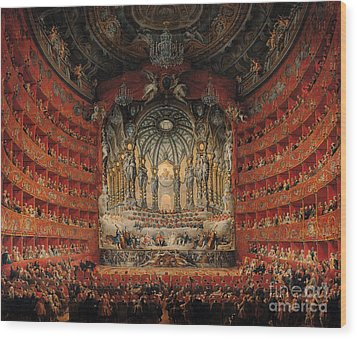 Concert Given By Cardinal De La Rochefoucauld At The Argentina Theatre In Rome Wood Print by Giovanni Paolo Pannini or Panini