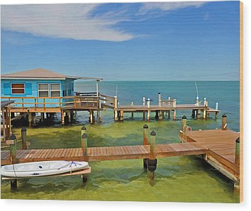 Conch Key Blue Cottage 3 Wood Print
