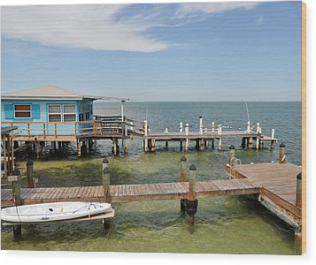 Conch Key Blue Cottage Wood Print