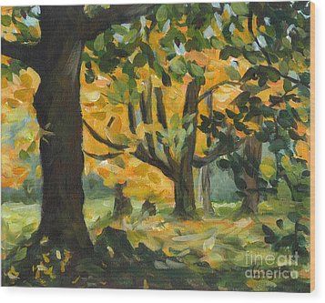 Concord Fall Trees Wood Print by Claire Gagnon