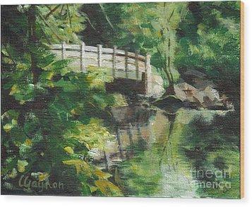 Concord River Bridge Wood Print