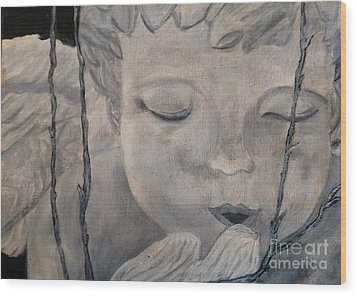 Wood Print featuring the painting Concret Angel by Lori Jacobus-Crawford