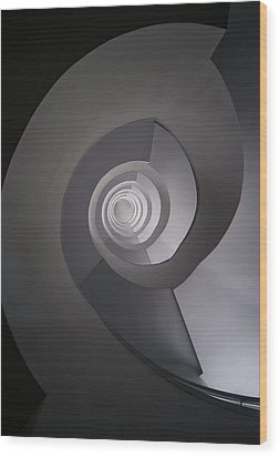 Concrete Abstract Spiral Staircase Wood Print by Jaroslaw Blaminsky