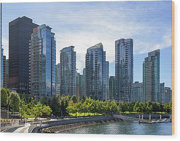 Condominium Waterfront Living In Vancouver Bc Wood Print by David Gn