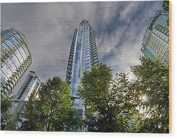 Condominiums Along Waterfront In Vancouver Bc Wood Print by David Gn