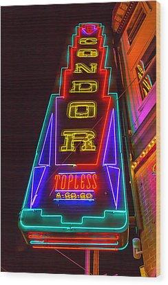 Condor Neon Wood Print by Garry Gay