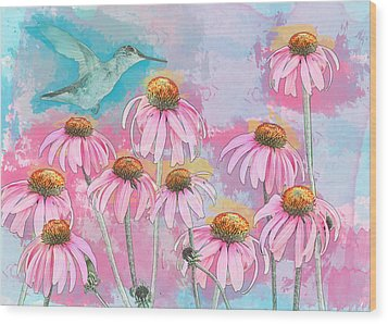 Coneflower Hummingbird Watercolor Wood Print