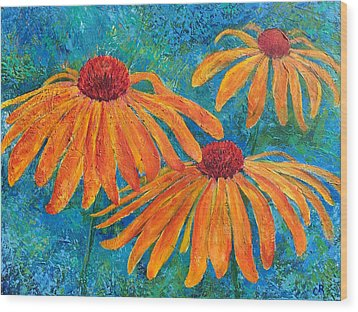 Wood Print featuring the painting Coneflower Trio by Chris Rice