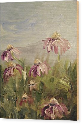 Wood Print featuring the painting Coneflowers by Donna Tuten
