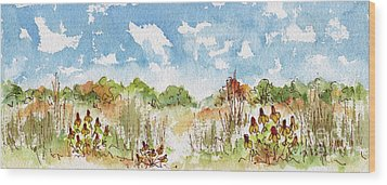 Wood Print featuring the painting Coneflowers On The Prairie by Pat Katz