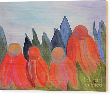 Wood Print featuring the painting Coneflowers by Sandy McIntire