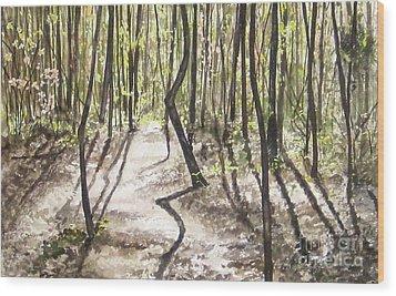 Conestee Walk Wood Print by Carla Dabney