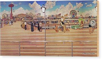 Coney Island Boardwalk Wood Print by Bonnie Siracusa