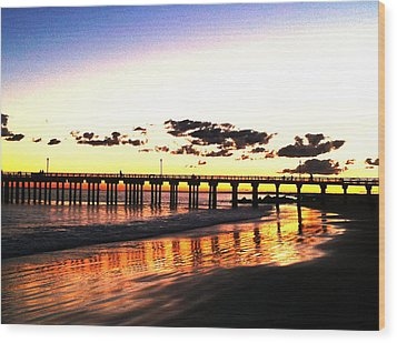 Coney Island Pier Sunset Wood Print by Frank Winters