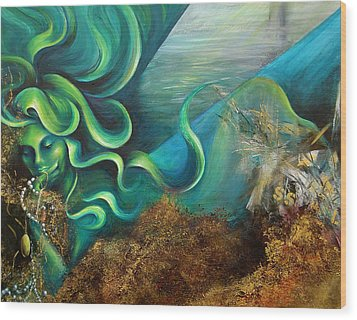 Wood Print featuring the painting Confessions Of A Mermaid by Dina Dargo