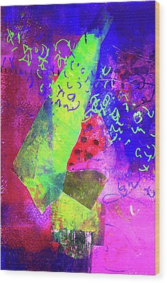 Wood Print featuring the mixed media Confetti by Nancy Merkle