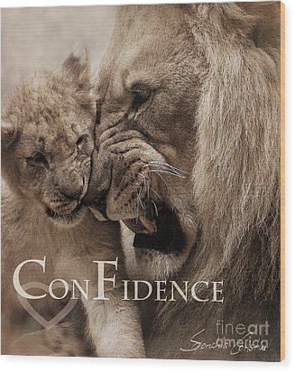 Confidence Wood Print by Christine Sponchia