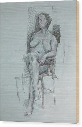 Confident Nude Wood Print by Mark Johnson