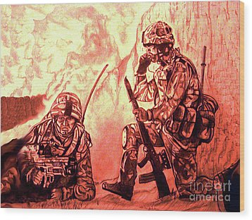 Confrontation Wood Print by Johnee Fullerton