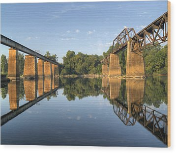 Congaree River Rr Trestles - 1 Wood Print by Charles Hite