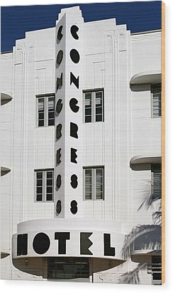 Congress Hotel. Miami. Fl. Usa Wood Print by Juan Carlos Ferro Duque