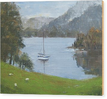 Coniston Water Wood Print by Elaine Monnig