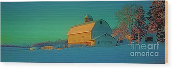 Wood Print featuring the photograph Conley Rd White Barn by Tom Jelen