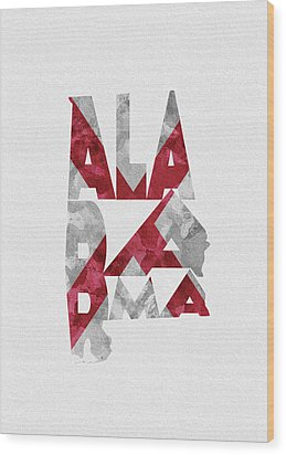 Wood Print featuring the painting Alabama Typographic Map Flag by Inspirowl Design