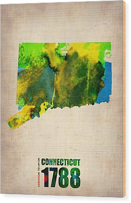 Connecticut Watercolor Map Wood Print by Naxart Studio