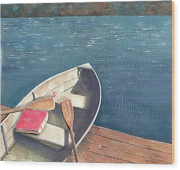 Connetquot Park Row Boat Wood Print by Sheryl Heatherly Hawkins