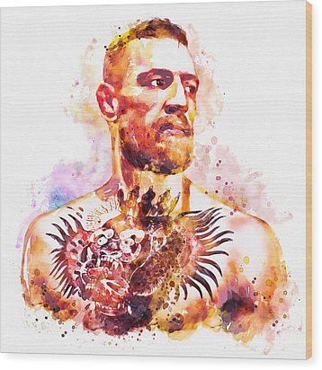 Wood Print featuring the mixed media Conor Mcgregor by Marian Voicu